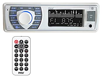 Pyle Bluetooth Marine Receiver Stereo - 12v Single DIN Style Boat In dash Radio Receiver System with Digital LCD RCA MP3 USB SD AM FM Radio - Remote Control Wiring Harness - PLRMR23BTW  White