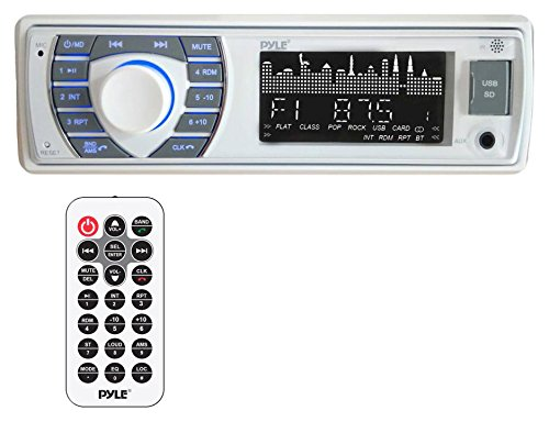 Pyle Bluetooth Marine Receiver Stereo - 12v Single DIN Style Boat In dash Radio Receiver System with Digital LCD, RCA, MP3, USB, SD, AM FM Radio - Remote Control, Wiring Harness - PLRMR23BTW (White)