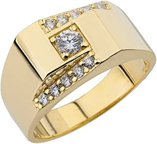 Fancy 10k Yellow Gold Diamond Men's Double Sloped Channel Solitaire Ring
