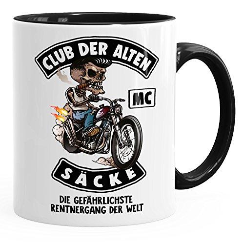 MoonWorks Kaffee-Tasse Club der Alten Säcke Geschenk-Tüte Club der Alten Säcke für Ältere Geburtstag Männer MC schwarz Unisize