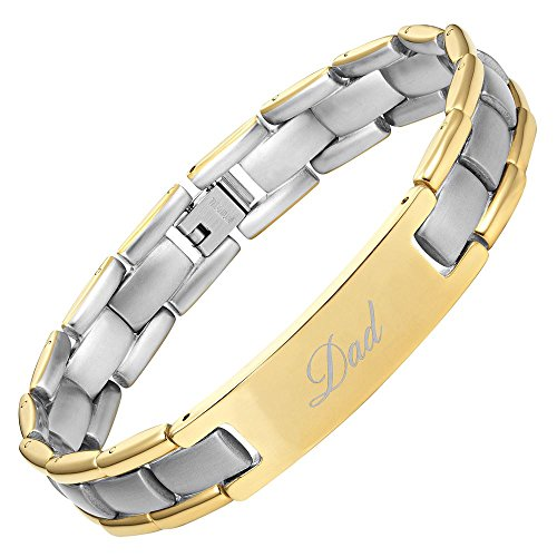 Willis Judd DAD Titanium Bracelet Engraved Best Dad Ever Two Tone Adjusting Tool & Gift Box Included