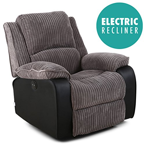 POSTANA Jumbo Cord Fabric Power Recliner Armchair Electric Sofa Reclining Chair (Grey)