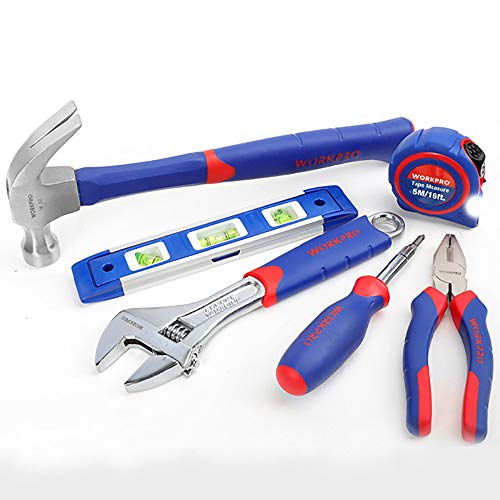 WORKPRO 6-Piece Tool Set, Hammer, Level, Wrench, Multi-Driver, Pliers and Measurer, (1 Set)