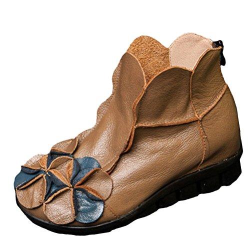 Vogstyle Damen Neu Beiläufig Blumen Lederstiefel Handgefertigt Kurze Boots Fleece Camel Art 1 EU 38=Asian 39