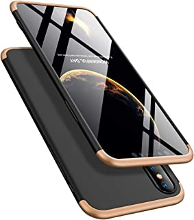 ATRAING iPhone X Case iPhone Xs Case, PC Hard Cases Ultra-Thin 3 in 1 Cover with Screen Protector for Apple iPhone X/XS(Gold+Black+Gold)