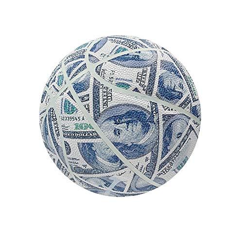 SHENGY Baloncesto n. ° 7, Baloncesto de Graffiti de dólar, Cuero de PU Resistente al Desgaste, Agarre Fuerte. Los Mejores Regalos para Entrenamientos y competiciones (para Bombas, Agujas, Redes)