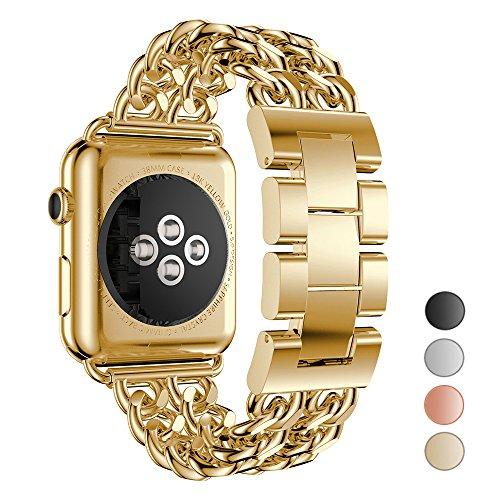 Seoaura para Apple Watch Band 38 mm 42 mm para Las Mujeres, Acero Inoxidable Metal Cowboy Cadena Estilo Repuesto para iWatch Series 1 Serie 2 Serie 3 Nike+ Correa de Deporte