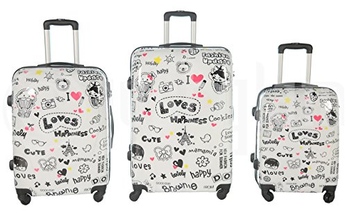 Trolley valigia set valigie rigide set bagagli in policarbonato abs super leggeri 4 ruote piroettanti trolley piccolo adatta per cabina con compagnie lowcost art happiness / unico