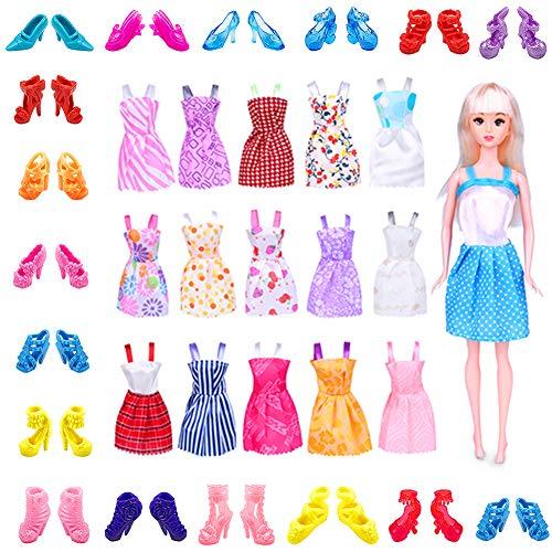 WENTS Ropa y Zapatos Muñeca 16 Piezas Moda Vestido de Princesa y 20 Pares de Zapatos para Regalo Niña para 11 Inch / 29cm Doll (Estilo al Azar)