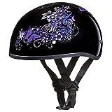 Daytona Helmets Motorcycle Half Helmet Skull Cap- Butterfly 100% DOT Approved