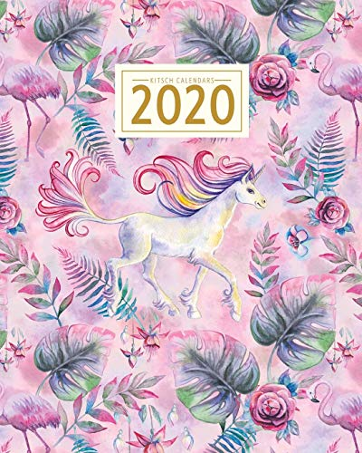 2020: Planner & Diary: Weekly & Monthly View :Flamingo & Unicorn, Vintage Floral Watercolor Pink with Palm Leaves & Roses Magical: Romantic Planner ... 2020 (2020 Kitsch Calendars Planners)