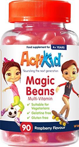 ActiKid Magic Beans Multi-Vitamin 90x Raspberry Flavour, Gelatin free, Children