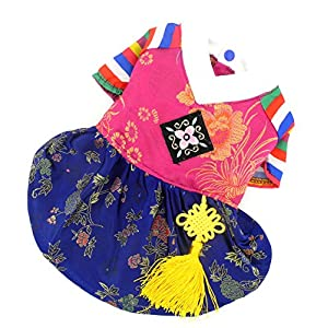SELMAI Ethnic Dog Costume Korean Traditional Knot Pendant Norigae Hanbok Embroidery Silk Pet Clothes Outfit Color Dress for Small Puppies Large Cat Apparel Birthday Party Festival Celebration Girl L