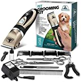 Pet Union Professional Dog Grooming Kit - Rechargeable, Cordless Pet Grooming Clippers & Complete Set of Dog Grooming Tools. Low Noise & Suitable for Dogs, Cats and Other Pets (Gold)