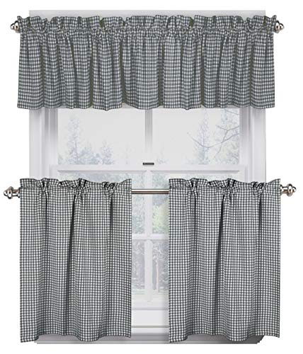 Native Fab 3 Pieces Window Curtain Tiers and Valance Set - Farmhouse Vintage Kitchen Tiers and Valance Set Rod Pocket - Grey White