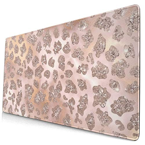 Gaming Mouse Mat,Rosegold blush tiger glitter 15.8x29.5 in Large Comfortable Extend Mouse Pad Non-Slip Rubber Base Mouse Mat for Laptop Gamers Office PC Desk