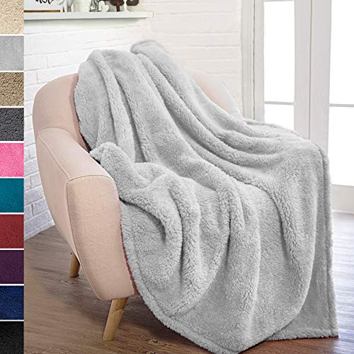 PAVILIA Plush Sherpa Throw Blanket for Couch Sofa   Fluffy Microfiber Fleece Throw   Soft, Fuzzy, Cozy, Shaggy, Lightweight   Solid Light Gray Blanket   50 x 60 Inches