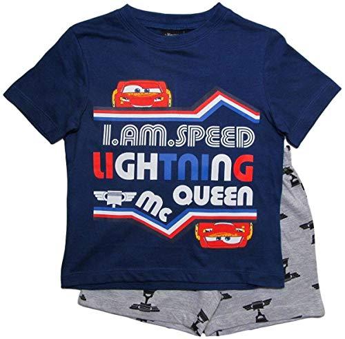 Cars Disney 3 Kollektion 2018 Ökotex Standard 100 Schlafanzug 92 98 104 110 116 122 128 Pyjama Kurz Shortie Shorty Lightning McQueen Jungen (Blau-Grau, 104-110)