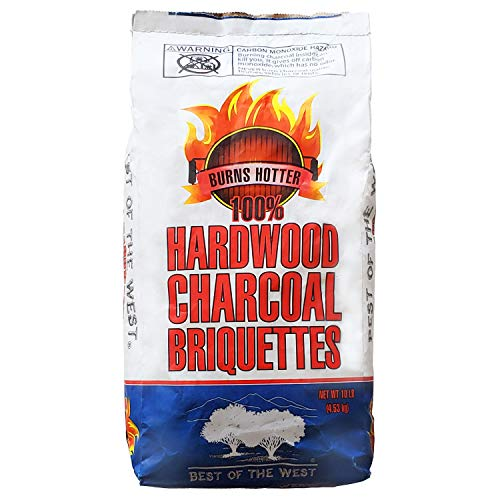 Best of the West All Natural Hardwood Charcoal Briquettes for Smoker Grill, Outdoor Cooking, Barbeque, and More, 10 Pound Bag