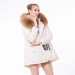 Women's Fox Fur Hoodie Long Down Jacket Drawstring Design Printing Letter Word Long Section Hooded Down Jacket Women Jacket, Insulated Ladies Outerwear,White,L