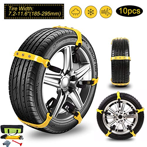 Snow Chains Anti Slip Snow Chains Emergency Anti-Skid Snow Mud Tire Chains for Cars/SUV/ATV/Trucks, Adjustable 10pcs Car Security Chains with Free Snow Shovel and Gloves (Yellow)