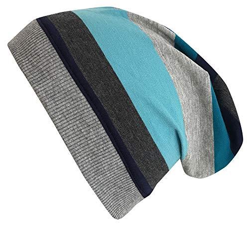 Wollhuhn Öko Jungen/Mädchen Blockstreifen Leichte Beanie-Mütze Blau/Grau 20180907, Größe L: KU ab 54 (darüber/Erwachsene)