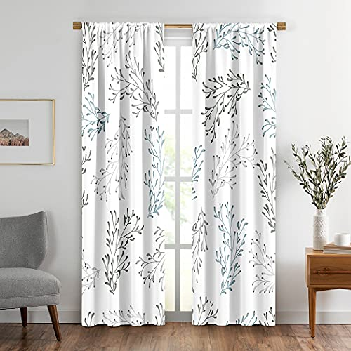 Green Leaves Window Drapes Curtain 2 Panels Blue Abstract Floral Branch Gray Beauty Berry Bush Environment Rod Pocket Drapes Curtain soundproof for Living Room Home Decor 104x84 Inches