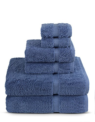 6 Piece Turkish Luxury Turkish Cotton Towel Set - Eco Friendly, 2 Bath Towels, 2 Hand Towels, 2 Wash Clothes by Turkish Towel (Wedgewood, Set of 6)