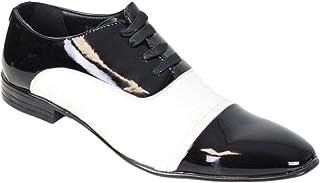 c539dbcd59a9 Kebello Chaussures Bi-Colore Vernis Homme Noir