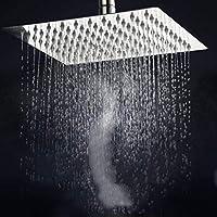 超薄型スクエアステンレススチールシャワーラージトップノズルレインシャワーバスシャワーヘッドスプレーバスルームアクセサリー-8_inch