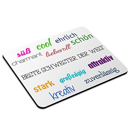 Mousepad mit Namen Beste Schwester der Welt personalisiert - Motiv Positive Eigenschaften - Namensmousepad, personalisiertes Mauspad, Gaming-Pad, Maus-Unterlage, Mausmatte