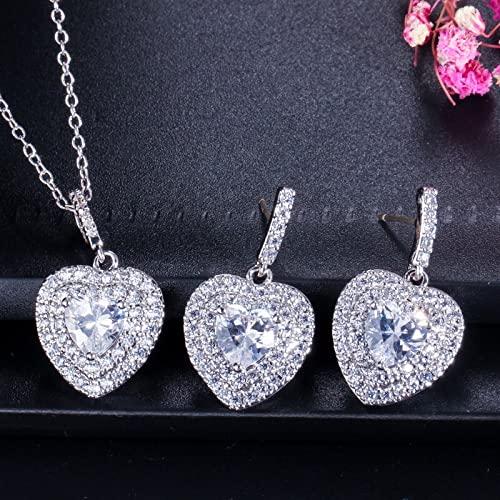 YUANBOO Zircons Fashion Women Love Gift Dark Blue Cubic Heart Forma Colgante Collar y Pendientes Juego de Joyas Damas (Metal Color : White)