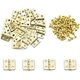SDTC Tech 24-Pack Mini Hinges 13x12mm 180 Degree Rotation Antique Butt Hinge with Mounting Nails for Jewelry Box Dollhouse Cabinet Closet Wooden Case - Gold