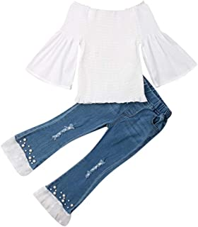 Toddler Baby Girl Ruffle Off Shoulder Flare Sleeve T-Shirt Tops Pearls Lace Bell Bottoms Denim Pants Kids Fall Outfit