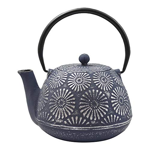 Ja by Frieling, Hani Blue/Silver Cast Iron Teapot with Stainless Steel Infuser, 40 oz.