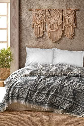 BOHORIA® Premium Tagesdecke Bali - Bettüberwurf Wohndecke Wendedecke Kuscheldecke Sofadecke mit Muster | extra-groß 220 x 240 cm (Elephant)