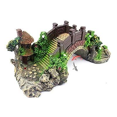 Comtervi Aquarium Deko Höhle Aquarium, das dekorative Brücke landschaftlich gestaltet Baumstamm Holz Polyresin Landschaft 14,5 * 5,5 * 6CM