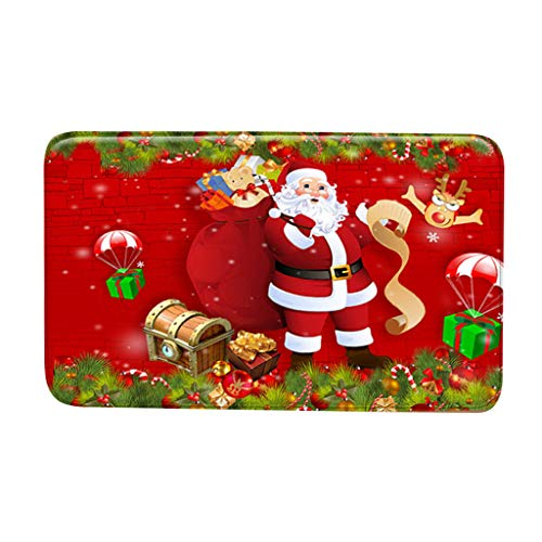 Kolylong® Fußmatte Weihnachten Kreative Weihnachten Muster Serie Digitaldruck Teppich rutschfeste Bodenmatte Frohe Weihnachten Indoor Outdoor Willkommen Fußmatte Wohnzimmer Teppiche 40X60CM