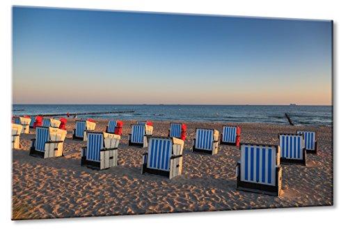 Fine-Art-Manufaktur Ostsee Strand Warnemünde Strandkorb Urlaub Sonnenaufgang Sonne | Aus der Serie: Die Ostsee | Farbe: blau | Rubrik: Meer-und-Strand + landschaften