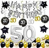 E.For.U® Deko 50. Geburtstag,50 Geburtstag Dekoration, Silber und Schwarz 50 Geburtstag Deko,...