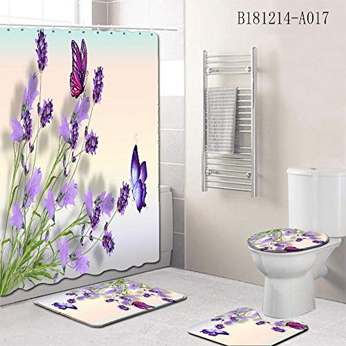 Ginsenget Thick Fabric Bath Curtain,Shower Curtain Mould,Proof Water Resistants,with 12pcs hooks for Bathroom Decorative and Privacy Protection,flower