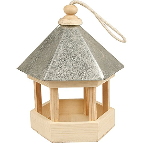 Mangeoire pour oiseaux avec toit en zinc, 22x18x16,5 cm, traité, 1 pièce