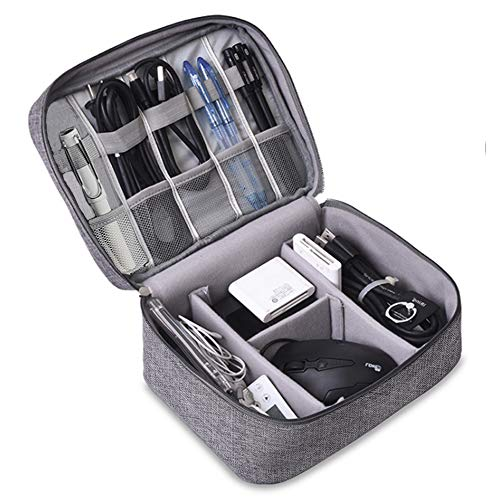 TOPSEFU Extra Large Cable Organiser Bag,Travel Electronics Accessories Bag Organiser for Cables, Flash disk, USB drive, Charger, Power Bank, Memory Card, Headphone and iPad Mini (gray)