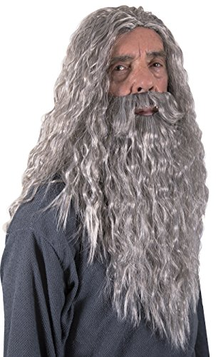 Kangaroo Halloween Accessories - Wizard Wig, Grey, Size One Size Fits Most