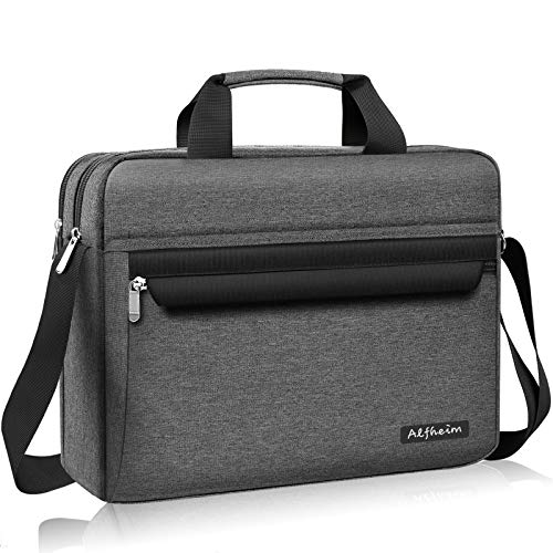 Alfheim Bolso para computadora portátil 14 Pulgadas, Bolso de Hombro con maletín para Hombres y Mujeres, Bolso de Mensajero Informal y Ligero Repelente al Agua (Gris)