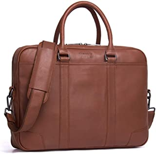 Haibeisi Fashion Unique Men's Business Briefcase Leather Shoulder Bag Casual Handbag (Color : Brown, Size : L)