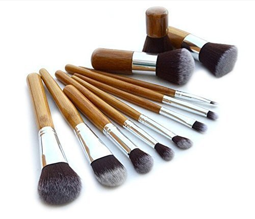 Kolight? 11pcs Bamboo Handle Cosmetic Eyeliner Face Foundation Concealer Lip Cheek Makeup Brush Sets by Kolight