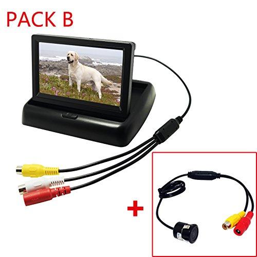 FEELDO 4.3 pulgadas plegable TFT LCD coche retrovisor Monitores con cámara de...