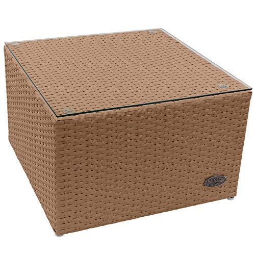 RS Trade 'Toscana' Polyrattan Beistelltisch mit verstärktem Alu-Gerüst und Temperglas Tischplatte (bis 90 kg als Hocker nutzbar), integrierte Spannbänder und höhenverstellbare Standfüße, Natur