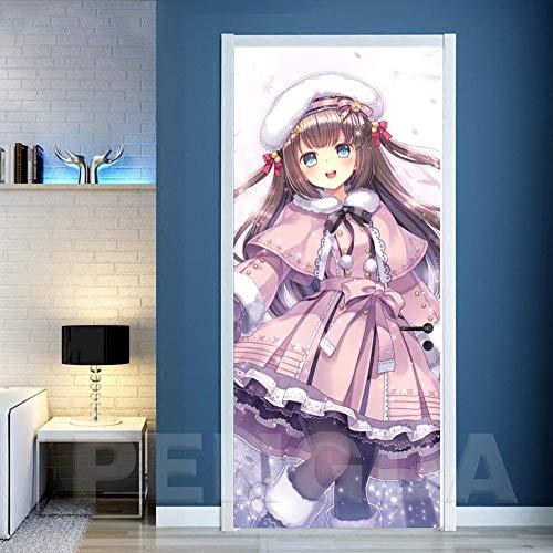 3D Deurfolie Deurfolie Home Decor Deurstickers Pvc Poster Cartoon Mooi Meisje Zelfklevend 3D Doek Waterdicht Behang Kinderkamer Kunst Foto-95X215Cm